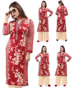 UK-STOCK-Women-Printed-Bollywood-Long-Kurti-Tunic-Kurta-Top-Shirt-Dress-153B