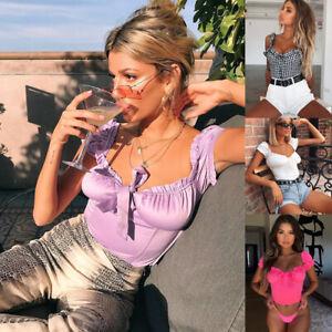 UK-Women-Off-Shoulder-Casual-Bralet-Bra-Tank-Top-Blouse-T-Shirt-Cami-Tops-Summer