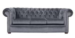 Modern Handmade 3 Seater Graphite Velvet Chesterfield Sofa Couch