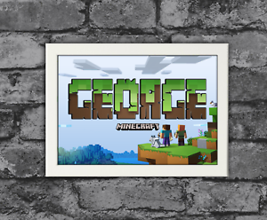 PERSONALISED MINECRAFT NAME WALL A4 ART PRINT POSTER CHRISTMAS CHILDRENS ROOM BN