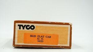 HO-Scale-Tyco-Skid-Flat-Car-w-Culverts-342D-Great-Northern-Original-Box-Train