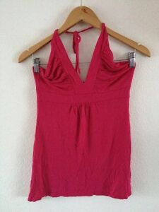 Therapy-Viscose-Stretch-Vest-Top-Tie-Halter-Size-10-Fuchsia-Pink-lt-R11253