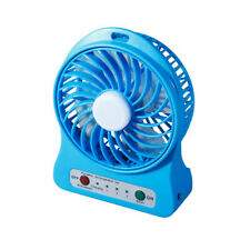Portable Rechargeable LED Light Fan Air Cooler Mini Desk USB Fan + 18650 Battery