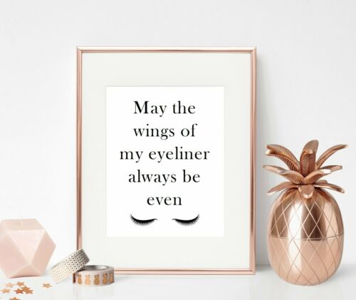Makeup Beauty Quote Print Bedroom Dressing Room Decor Sign Poster Wall Art