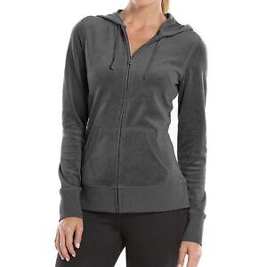 New Tek Gear Women Full-Zip Velour Hoodie Jacket Black Gray Size Small MSRP $30