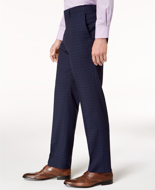 VINCE CAMUTO Men's blueE PLAID SLIM FIT TROUSERS FLAT FRONT DRESS PANTS 33W