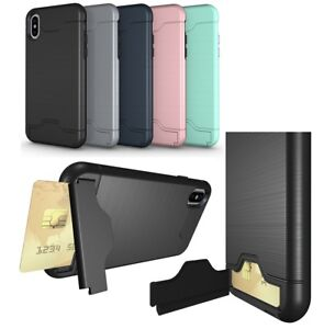 sports shoes 70b89 84e5b Details about For iPhone X Credit Card Holder Wallet Kickstand Shockproof  TPU Cover Case