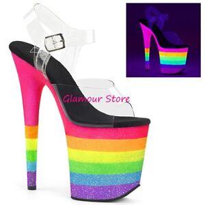 20 Sexy Arcobaleno 40 Fluorescenti Glitter Al 35 Plateau Club Tacco Dal Sandali EDHeYW9Ib2
