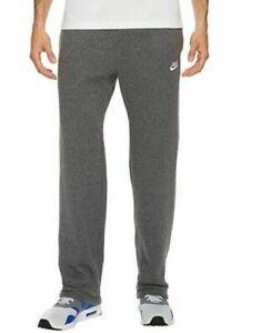Neuf-Nike-Club-Polaire-Ourlet-Ouvert-Piste-Pantalon-Anthracite-Chine-Gris-Size-S