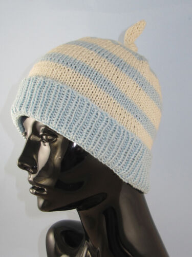 KNITTING PATTERN INSTRUCTIONS-SIMPLE STRIPE TOPKNOT BEANIE HAT KNITTING PATTERN