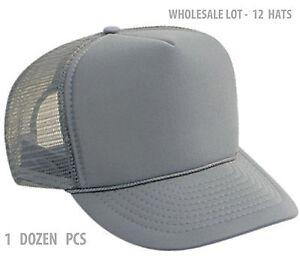 89d6611c5ec 1 Dozen Classic Trucker Hats Solid Gray Foam Grey Mesh Hat Caps ...