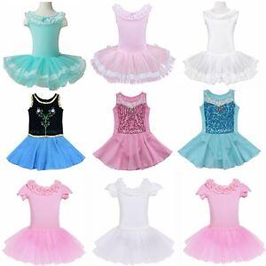 Kid Girls Leotard Dress Ballet Dance Gymnastic Tutu Dancewear Fancy Costumes New