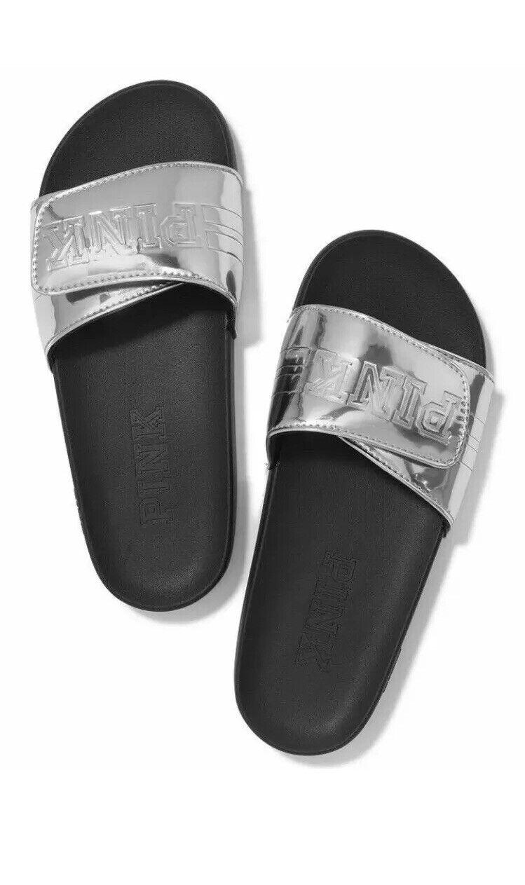 NWT Victorias Secret PINK Comfort Slides Silver Small RARE   Brand New