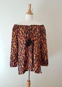 JANE-LAMERTON-Womens-Leopard-Print-Off-Shoulder-Blouse-Size-14-GUC