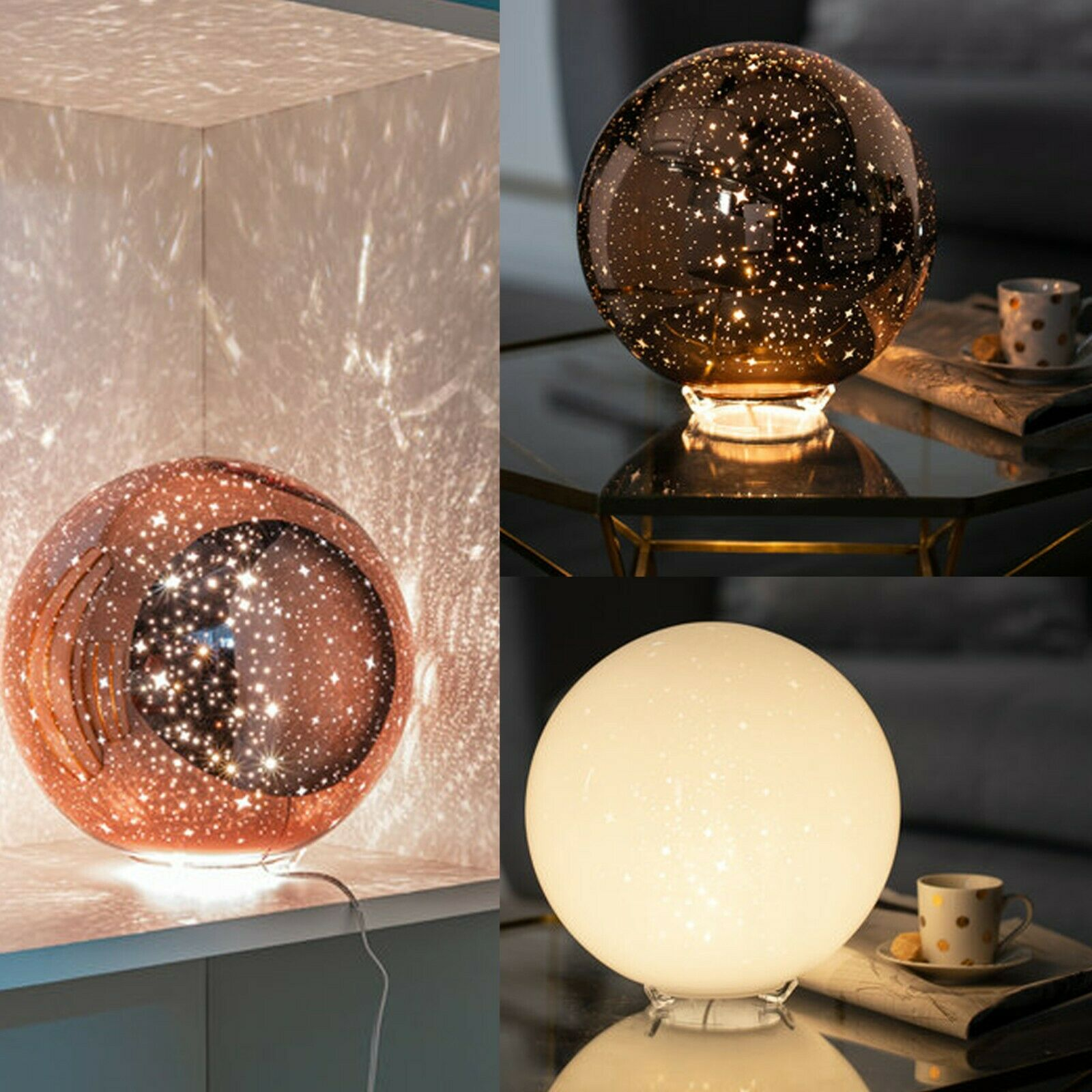LED Tisch Leuchte Dielen Laterne XMAS Lampe Glitzer Effekt Flüssigkeit Strahler