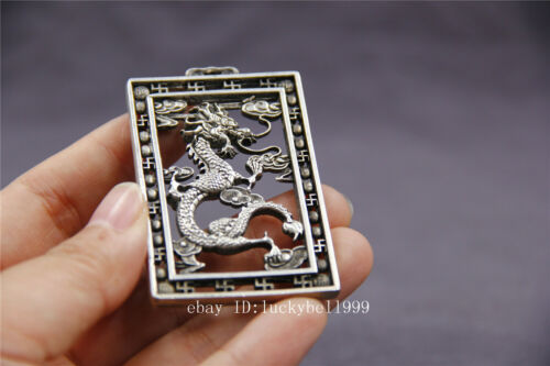 """2.4/"""" Chinese old tibet silver Hollow out dragon lucky Amulet Thang-ga Pendant"""