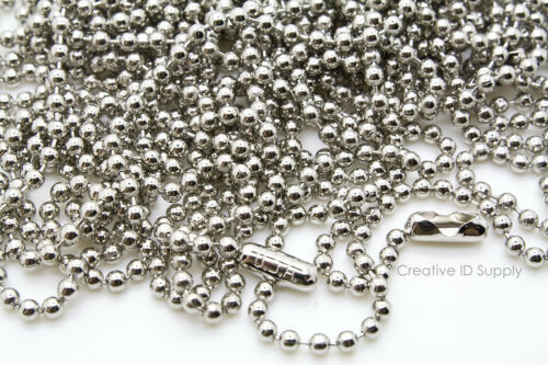 """WHOLESALE LOT 100 200 500 1000 BALL CHAIN 2.4mm 24/"""" NICKEL PLATED FREE SHIP USA"""
