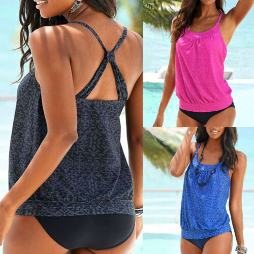 Damen Tankini Sommer Bademode Top Oberteil Bikini Set Schwimmanzug Badeanzug