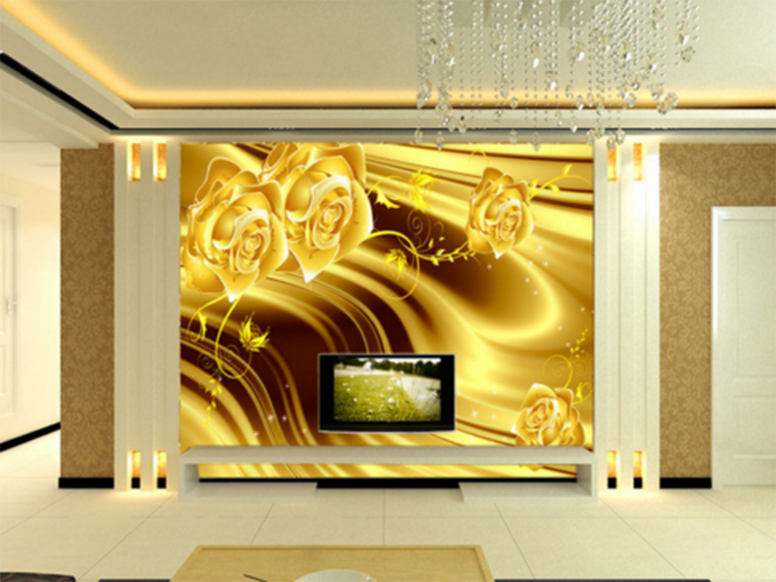 3D Gold Flowers Ripple Paper Wall Print Wall Decal Wall Deco Indoor Murals