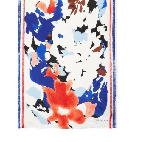 Marine Blue Absolutely Beautiful!! Vince Camuto Bloom Print Silk Scarf