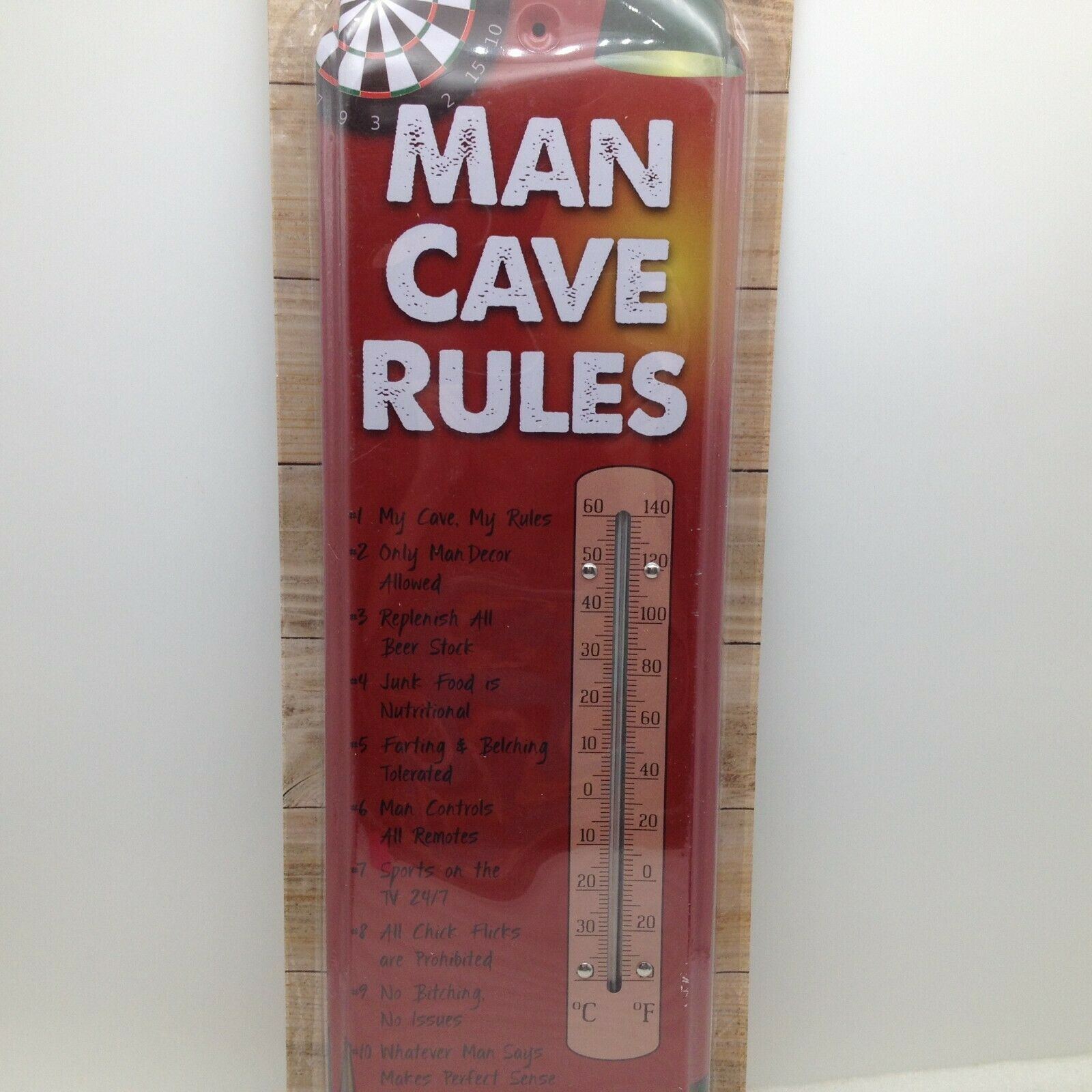 Man Cave Rules Indoor Outdoor Thermometer Pool Darts Beer Metal 17.5 in Tall