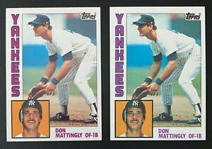 2x-Don-Mattingly-1984-Topps-amp-1x-O-Pee-Chee-OPC-Rookie-RC-NY-Yankees-NRMT