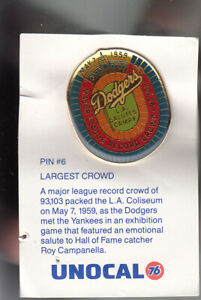 VINTAGE-L-A-DODGERS-UNOCAL-PIN-UNUSED-LARGEST-CROWD