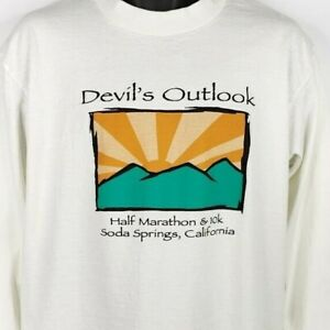 Devils-Outlook-Half-Marathon-T-Shirt-Vintage-90s-Soda-Springs-Made-In-USA-Large
