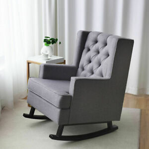 Incredible Details About Mid Century Retro Fabric Upholstered Rocking Chair Button Tufted Wingback Gray Customarchery Wood Chair Design Ideas Customarcherynet