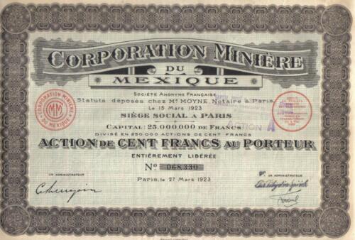 Original France Mexico 1923 Bond Corporation Minning 100 fr Uncancelled coupons