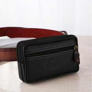 Men PU Leather Cell Phone Case Cover Pouch Belt Purse Fanny Pack Waist Bag Y