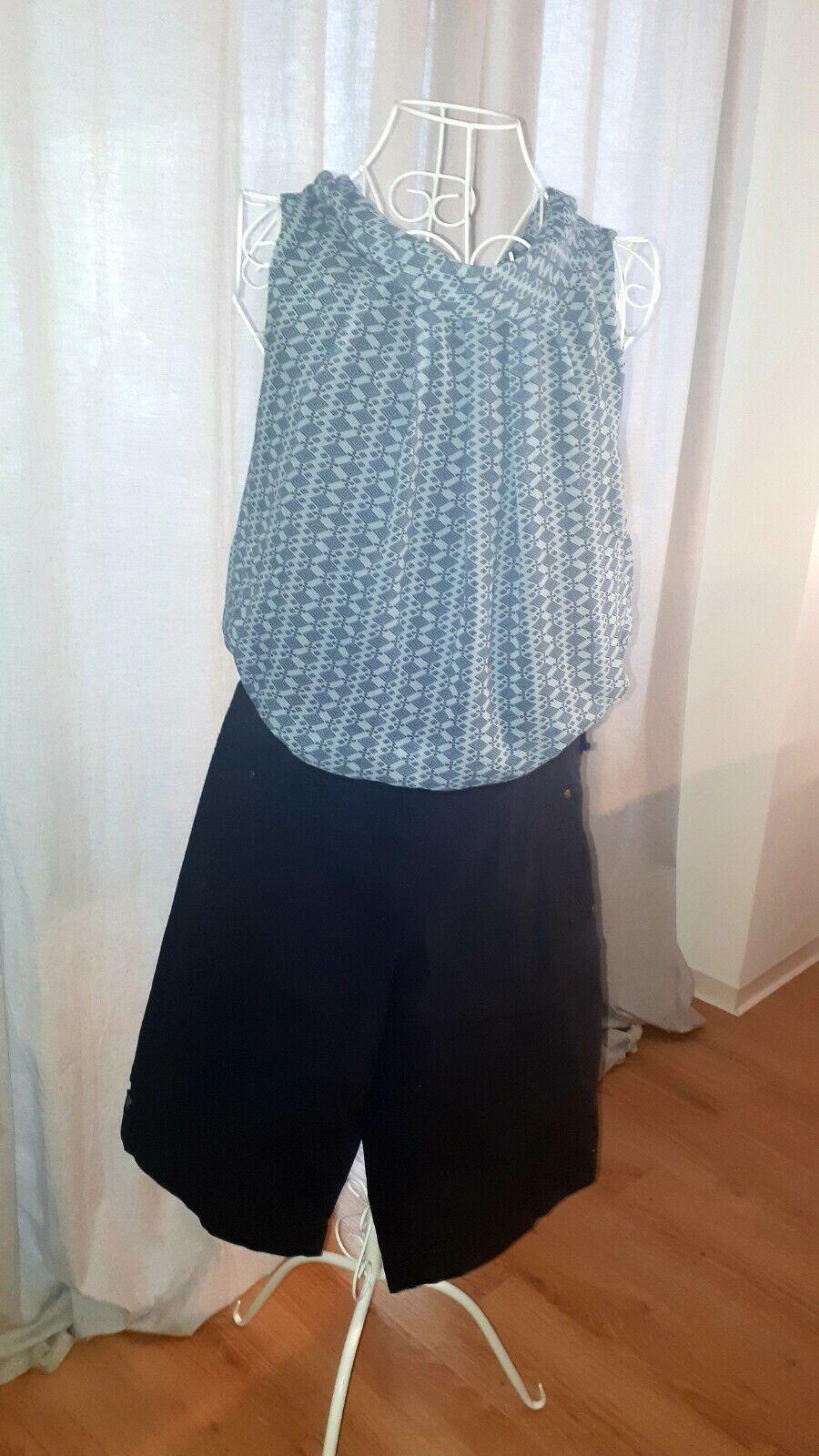 2-tlg Damen Bekleidungsset: marine Bermuda Shorts, hellblaues Blusen Shirt 40/42