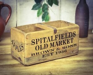 Spitalfields Market Apples & Pears Box Realistic Vintage Antiqued Wooden Box Trug Crate