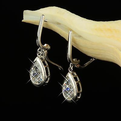 Hochzeitsschmuck Trendmarkierung Ohrringe Hänger Zirkonia Weiss Echt 750er Gold 18 Karat Vergoldet Silber O2047s Auswahlmaterialien