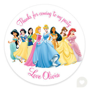 personalised disney princess birthday party stickers thank you