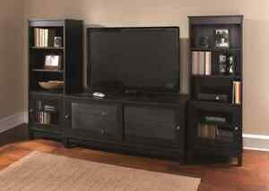 Tv Stand Wood Glass Entertainment Unit W 2 Matching Media Storage