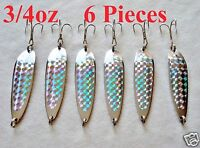 6 Pieces 3/4oz Casting Crocodile Spoons Chrome/silver Fishing Lures
