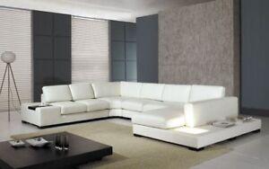 Vig Furniture DIVANI Casa T35   Modern Hardwood Leather Sectional Sofa W/  Light