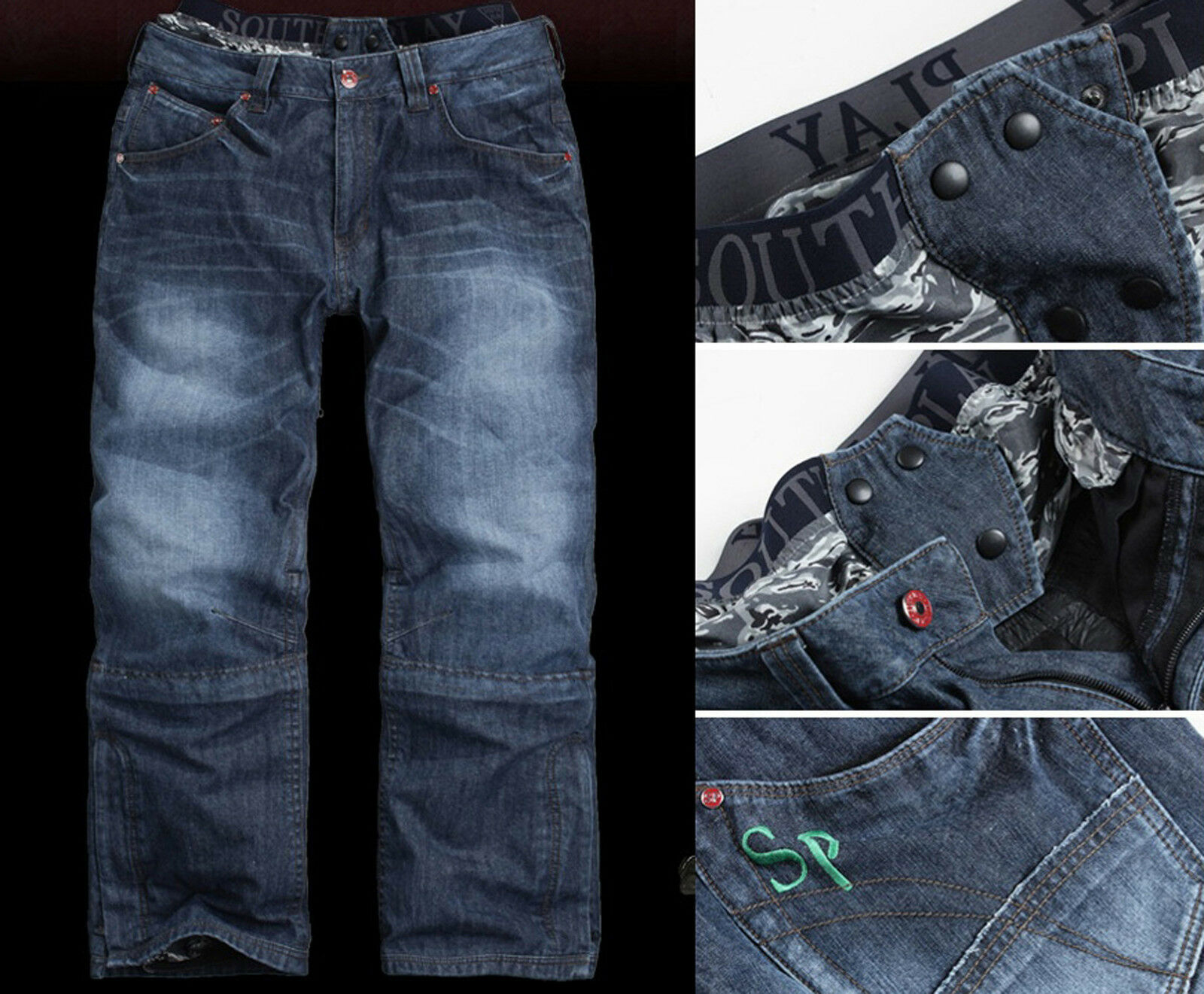 Southplay Mens Premium Winter bluee Jean Ski-Snowboard Denim Pants, BJ110