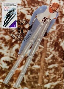 CARTE-POSTALE-MAXIMUM-GERMANY-ALLEMAGNE-SPORT-OLYMPIADE-1988-SAUT-A-SKI