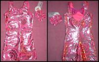 Pink Gymnastics Unitard Biketard Bow Back Girls Sz 4/5 6/7 8/10 Foil Swirls