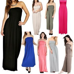 Womens-Ladies-Summer-Sheering-Strapless-Bandeau-Boob-Tube-Maxi-Dress