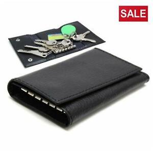 Véritable Cuir Noir Key//Coin Pouch