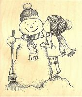 Sweet Snow Kisses, Wood Mounted Rubber Stamp Impression Obsession - New, E11118
