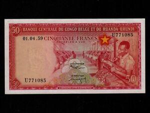 Belgian-Congo-P-32-50-Francs-1-4-1959-Textile-Factory-EF-AU