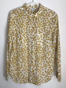 Boden-Womens-Size-6-Lightweight-Shirt-White-Yellow-Button-Down-Top-Long-Sleeve