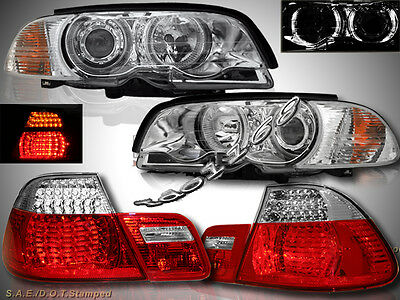 00-2003 BMW E46 2DR HALO PROJECTOR HEADLIGHTS+CORNER LIGHTS + LED TAIL LIGHTS
