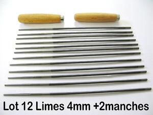 lot de 12 limes 4 mm 2 manches affutage chaine tronconneuse affuteuse lime ebay. Black Bedroom Furniture Sets. Home Design Ideas