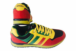 Image is loading Mens-Classic-Rasta-Flag-Jamaica-Yellow-Green-Sneakers-