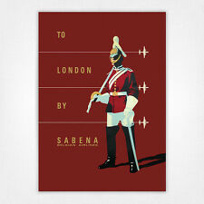 Vintage travel poster - A4 - London Sabena Horse Guardsman